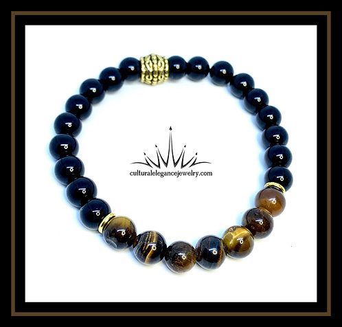 Onyx and Tiger's Eye w/Gold Accents