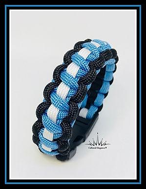 Paracord Bracelet: Light Blue/White/Black