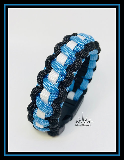 Paracord Bracelet: Light Blue/White/Black