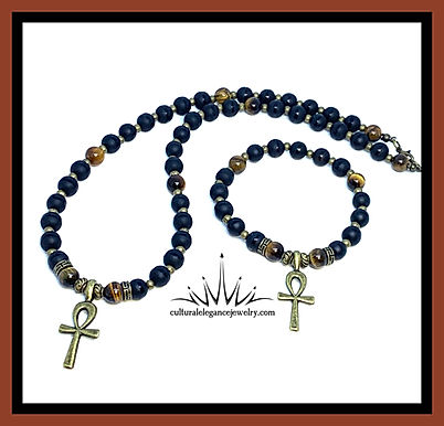 Ankh Onyx and Tiger's Eye Necklace n Bracelet Set