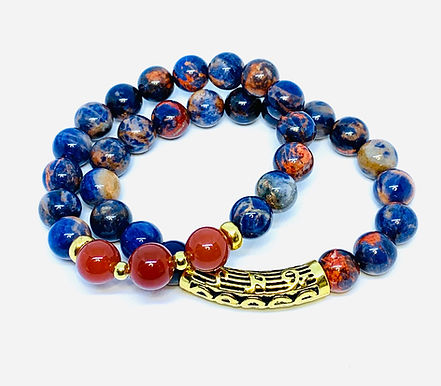 Orange Sodalite and Carnelian Bracelet Set