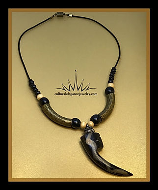 Bone Tooth Necklace w/Leather Cord