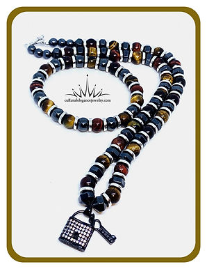 Multicolored Tigers Eye and Magnetic Hematite Necklace and Bracelet Set