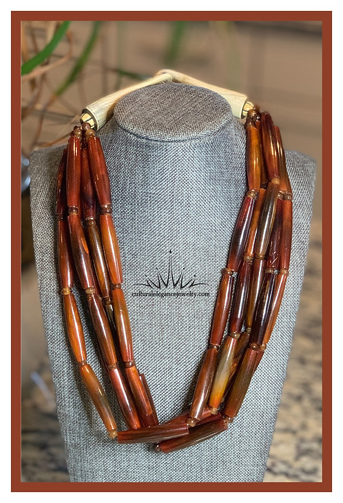 Multi-strand Bamboo and Horn Necklace