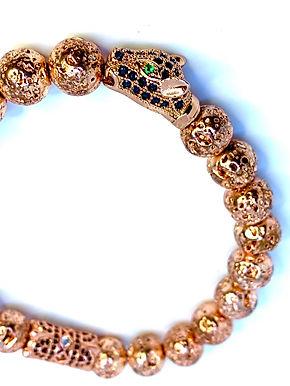 Rose Gold Lava Rock Panther Bracelet