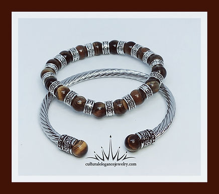 Brown Tiger's Eye and Pewters Accents w/Silver Bangle