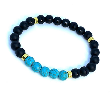 Turquoise Howlite and Black Agate w/Gold Bracelet