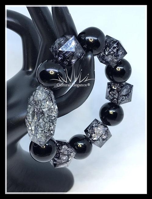 Chunky Cracklin Black! Acrylic Beaded Bracelet!