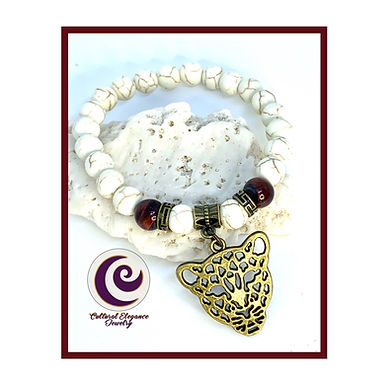 Howlite and Tigers Eye w/Panther Bracelet