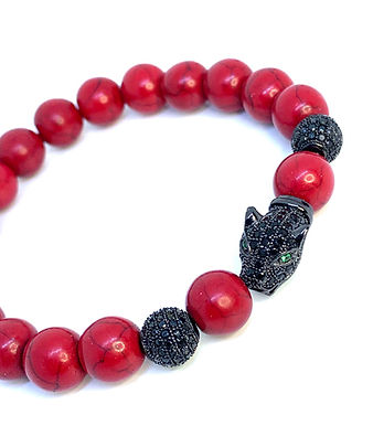 Red Howlite Panther Bracelet