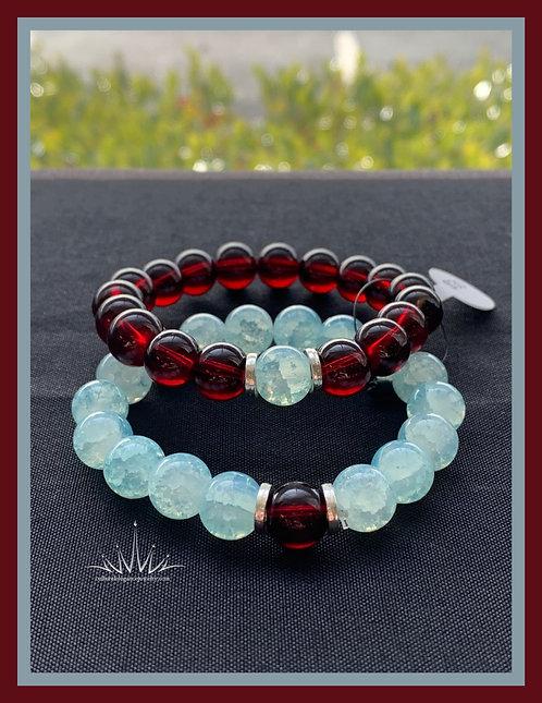 Garnet & Blue Cracked Quartz Couples Bracelet Set