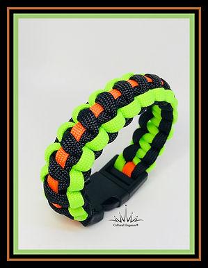 Paracord Bracelet: Neon Orange/Green/Black