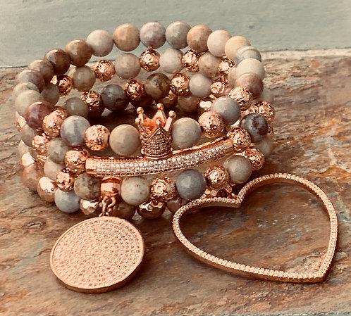 Moonstone/Rose Gold Lava Rock Bracelets
