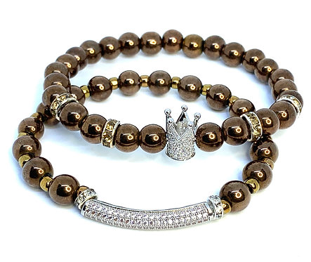 Bronze Hematite Crown Bracelet Set