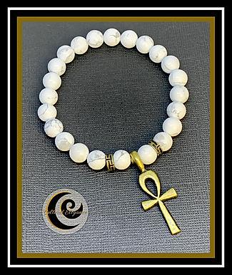 White Howlite Ankh Bracelet