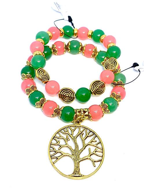 "Rose Quartz and Jade ""Tree of Life"" Bracelet Set"