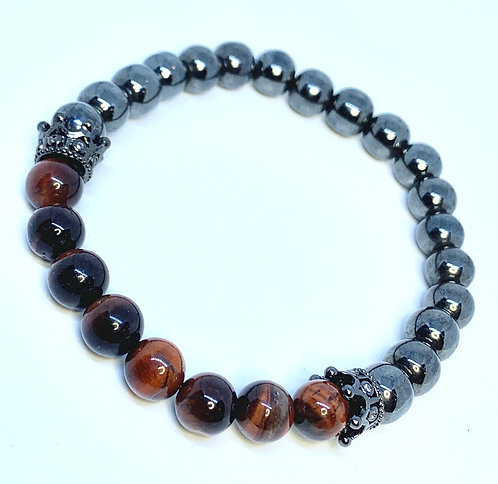 Hematite and Red Tigers eye Bracelet