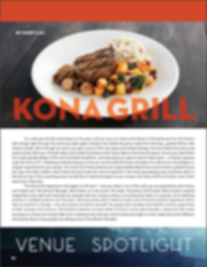 "Scanned image of page #1 of the author's artical ""Kona Grill"" a venue spotlight from Park Ave Magazine"