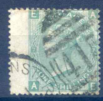 SG117 1/- Green Plate 7 Fine Used LH Wing Margin