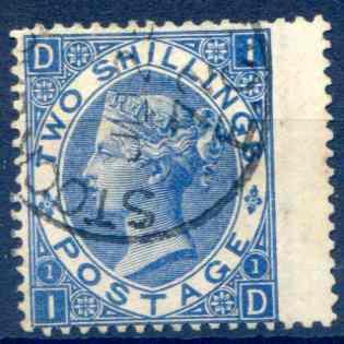 SG119 2/- Deep Blue Fine Used RH Wing Margin