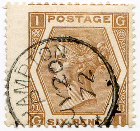SG122b 6d Pale Chestnut Very Fine Used Part CDS Dated JY 20 72