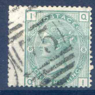 SG150 1/- Green Plate 8 Fine Used LH Wing Margin
