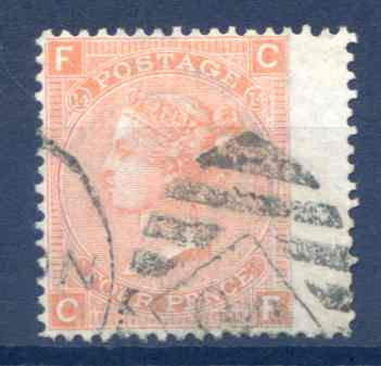SG94 4d Vermillion Plate 14 Fine Used RH Wing Margin