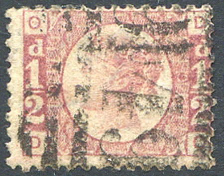 SG48 1/2d Rose Red Plate 9 Fine Used
