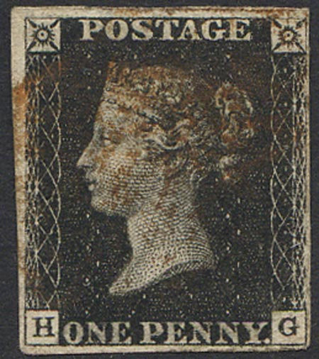 Penny Black (HG) Plate 6 Red MX 4 Margin Fine Used