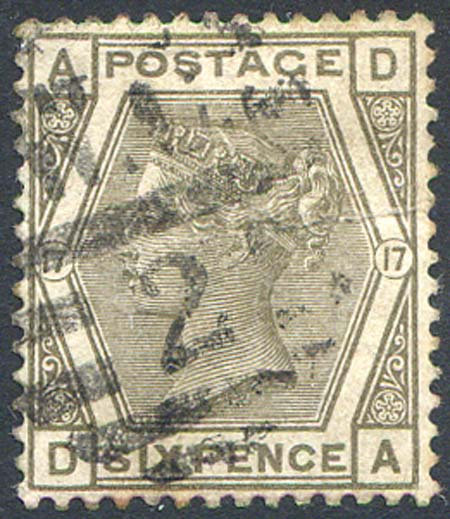 SG147 6d Grey Plate 17 Fine Used