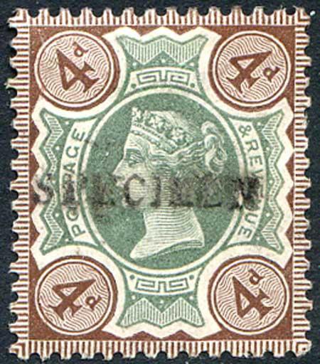 SG205s 4d Green & Purple Brown Mounted Mint Specimen Overprint