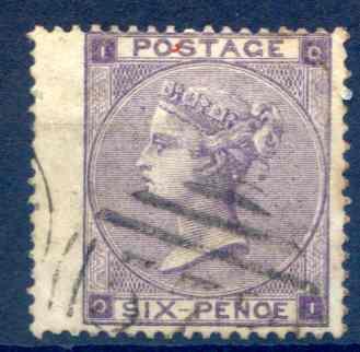 SG83 6d Deep Violet Fine Used LH Wing Margin