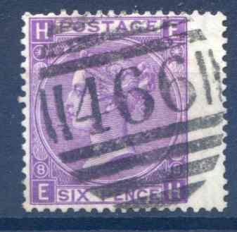 SG109 6d Mauve Plate 8 Used RH Wing Margin