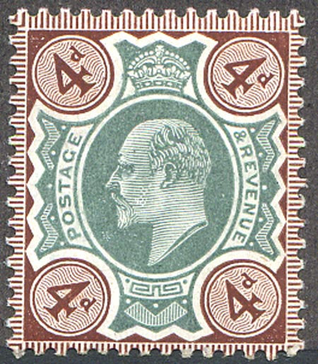 SG236a 4d Green & Chocolate Brown Spec M24/1 Unmounted Mint