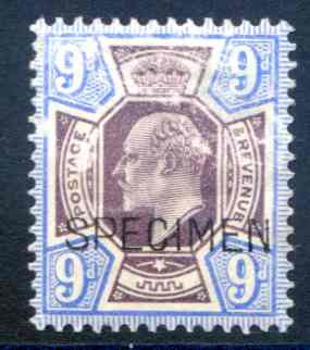 SG250aas 9d Dull Purple & Ultramarine Mounted mint Specimen Overprint