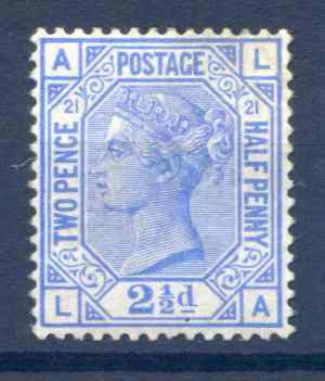 SG157 2 1/2d Blue Plate 21 Mounted Mint