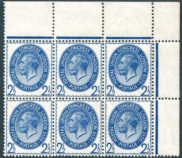 SG437 2 1/2d Pale Blue Corner Marginal Block 6 Unmounted Mint