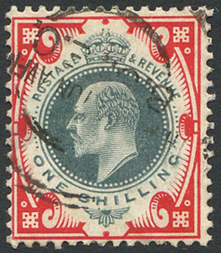 SG259 1/- Dull Green & Scarlet Fine Used