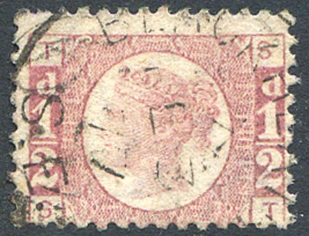 SG48 1/2d Rose Red Plate 11 Fine Used