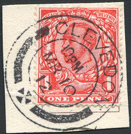 SG342 1d Scarlet Fine Used On Small Piece