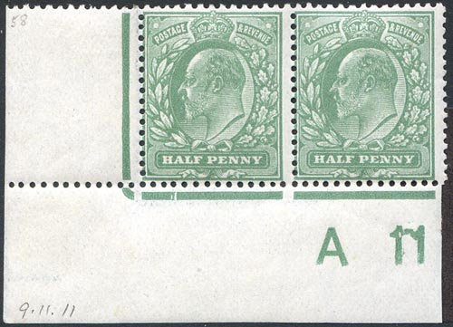SG267Var 1/2d Green A17 for A11 Control Pair Mounted Mint