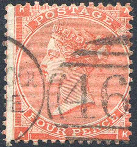 SG79 4d Bright Red Fine Used Short Stamp Part CDS
