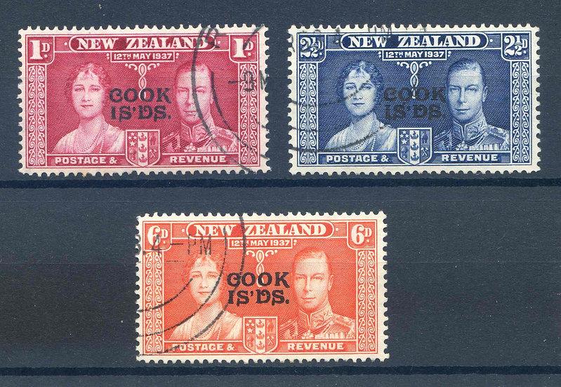 Cook Islands 1937 Coronation set SG124/6 Fine Used