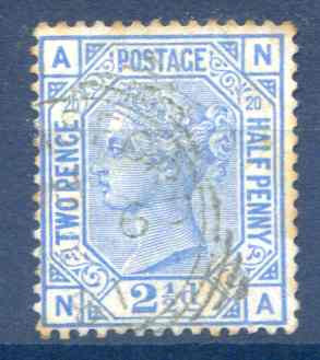 SG142 2 1/2d Blue Plate 20 Fine Used