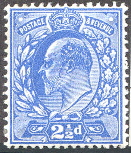 SG283Var 2 1/2d Deep Bright Blue Mounted Mint Spec M18/1