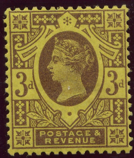 SG202 3d Purple/Yellow Small Thin Lightly Mounted Mint