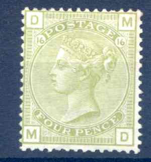 SG153 4d Sage Green Plate 16 Mounted Mint