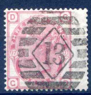 SG143 3d Rose Plate 17 Fine Used RH Wing Margin