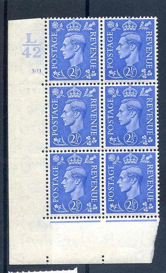 KGV1 2 1/2d Pale Blue L42 Cyl 101 No Dot Unmounted Mint Block 6