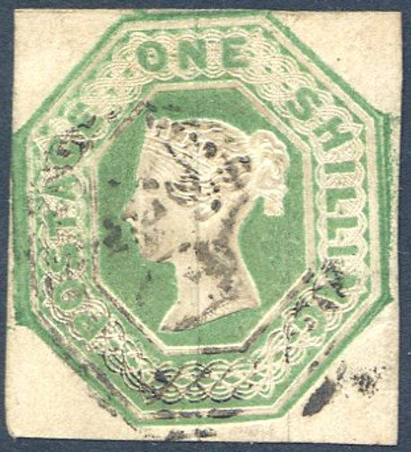 SG55 1/- Green Embossed Fine Used